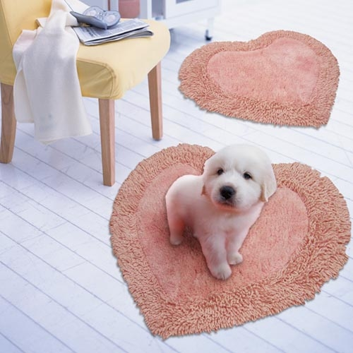 (Cotton Field) Cotton field [LOVE-Heart] India Cotton Mat - Pink (60x60cm)