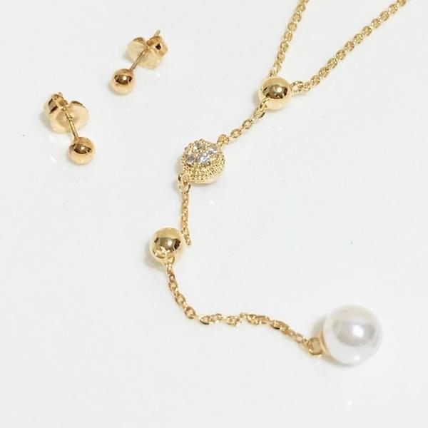 Pearl Rhinestone Necklace Earring Set Set (Golden Yellow)