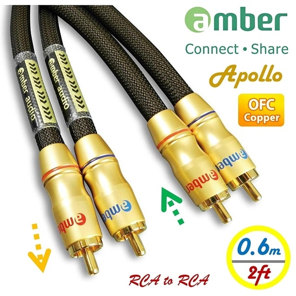 (amber)Amber Premium 2-male to 2-male RCA Cable,Analog Stereo,RCA to RCA/AR306