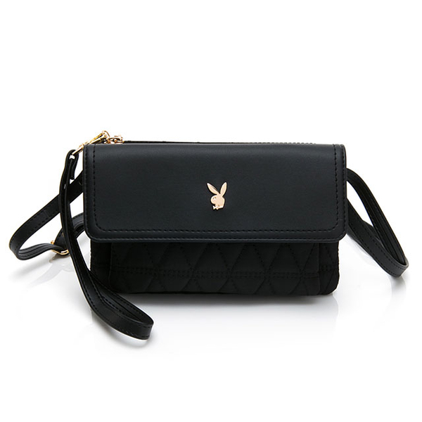 PLAYBOY- กระเป๋าอเนกประสงค์มีหูหิ้ว / สายคล้องยาวสีทอง Classic Bunny Series - สีดำ