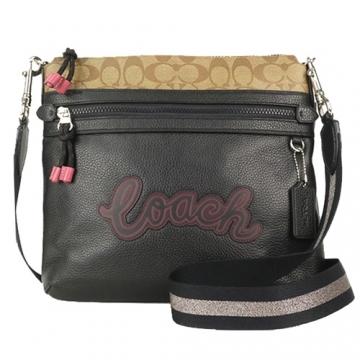 New C LOGO Lychee Leather Stitched Signature Cross Body Bag (Khaki X Black)