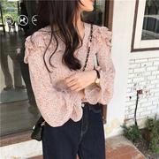 เสื้อชีฟองระบายลายดอกเล็ก 3 สี