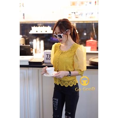 เสื้อถักแขนพองผ้าแก้ว งานสวยมาก ดูดีที่สุด มี3สี ขาว เหลือง ดำ