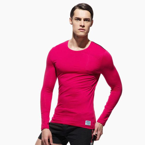 "(Private Structure)""Private Structure"" minimalist fluorescent shoulder strap fitness men's shirt (pink)"