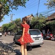 Size: S เดรสลายดอกสีแดง