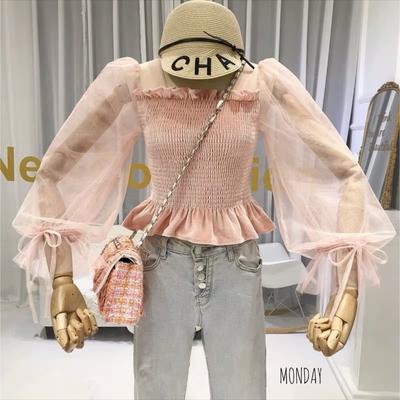 (สีชมพู)เสื้อไหมพรมแขนยาว แต่งผ้าชีฟอง ลุคเจ้าหญิง งานมุ้งมิ้ง หวานละมุน ใส่ตัวเดียว สวยจบ ไม่ต้องแต่งเยอะ ดูแพง