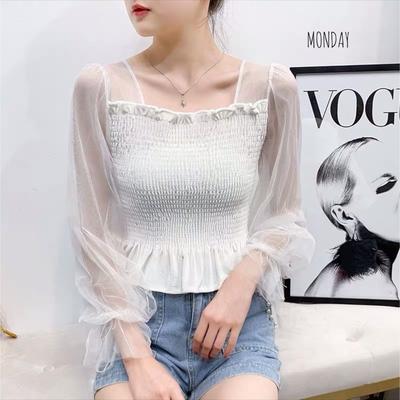 (สีขาว)เสื้อไหมพรมแขนยาว แต่งผ้าชีฟอง ลุคเจ้าหญิง งานมุ้งมิ้ง หวานละมุน ใส่ตัวเดียว สวยจบ ไม่ต้องแต่งเยอะ ดูแพง