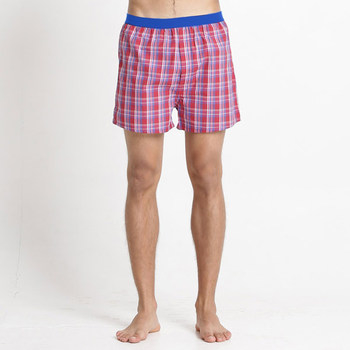 (Corpo X)[Corpo X] Men sustained sense of cool iced flat cotton pants - Red Plaid