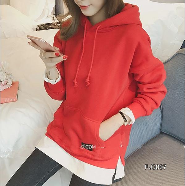 เสื้อกันหนาวแขนยาว มีฮู้ด แบบสวม มีกระเป๋าด้านหน้า สวยน่ารัก สไตส์เกาหลี