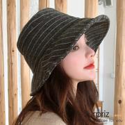 หมวกชาวประมง A-Surpriz Twill ตรงลาย Woollen (สีเทาเข้ม)