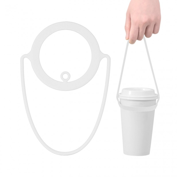 [Bone Collection] สายซิลิโคนหิ้วแก้วน้ำ (สีขาว)