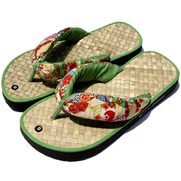 (inature)He Feng Hua Yang handmade straw slippers-green flip-flops