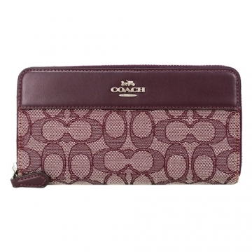 (coach)COACH Stereo Carriage Weave Stitching Zip Long Clip (Tree Plum Red)