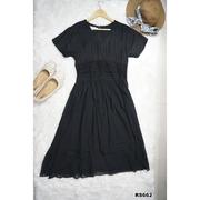 แมกซี่เดรส Maxi Dress แขนสั้น สีดำ งานป้าย