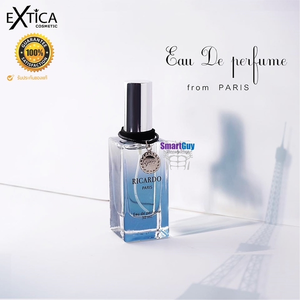 EXTICA RICARDO PARIS Eau De Parfum 30ml. น้ำหอมลิขสิทธิ์ของแท้ซีรี่ย์ใหม่จากแบรนด์ EXTICA กลิ่นใหม่สำหรับผู้ชายหอมเย็นหรูหราผสานความเซ็กซี่น่าค้นหาชวน