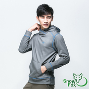 [SNOWFOX] FLEECE เสื้อแขนยาวคลุมด้วยผ้าผู้ชายที่อบอุ่นเสื้อคลุม (กำมะหยี่ / การระบายอากาศ / การดูดความชื้น / เหงื่อออก FL-71553 สีเทา)