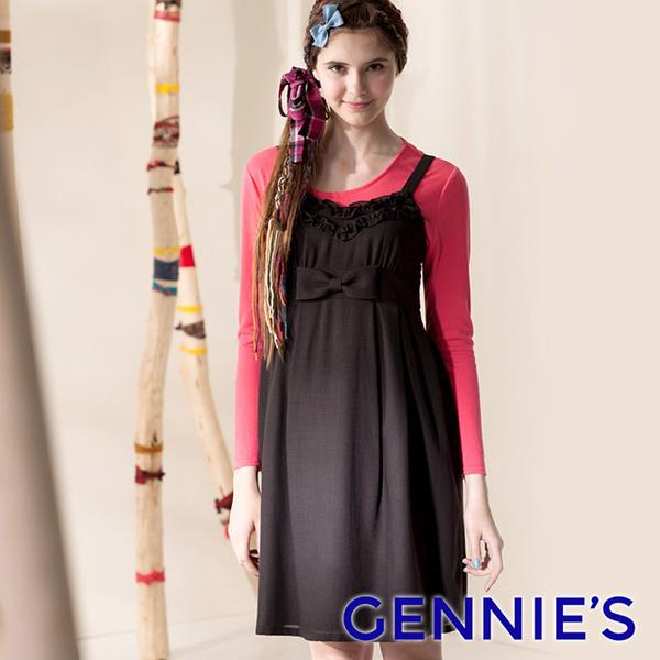 Gennies Qini big butterfly trim harness dress (coffee G2411)