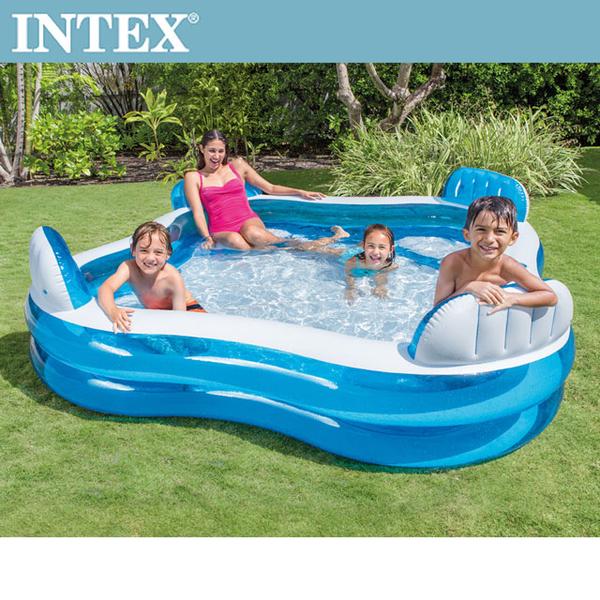 (INTEX)INTEX blue transparent cushioned swimming pool (56475N)