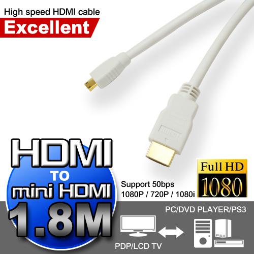 ซูเปอร์ miniHDMI วิจิตรสายส่งความเร็วของ HDMI (1.8M)