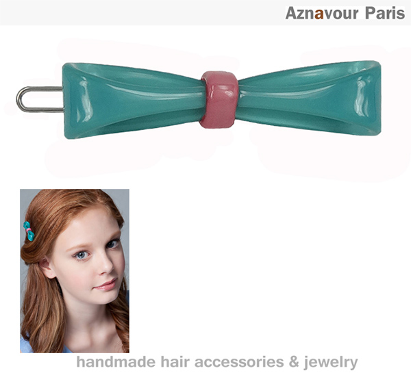 (Aznavour)[Aznavour] small ribbon bow clip (Emerald)