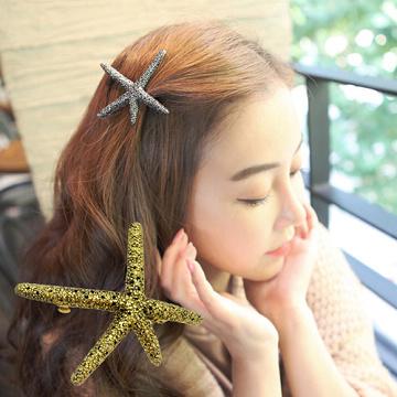 (charme)Charme Korean pop retro shape starfish hairpin gold