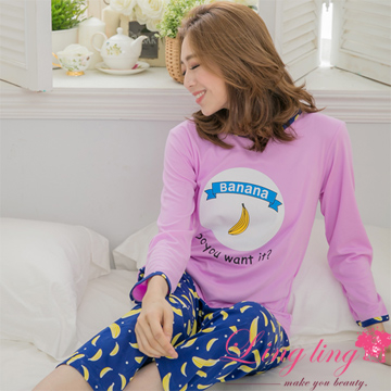 lingling A3071-01 full size - pretty sweet bananas Meng Niu English word long-sleeved cotton long sleeve - pajama trousers + (two-piece pajama set) (P