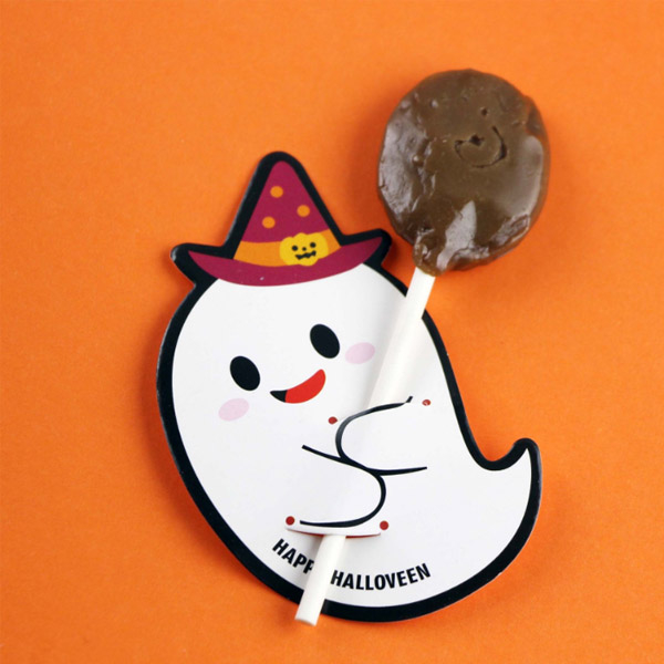 [Dressing] Fun Halloween candy style decorative card - Red Hat Ghost