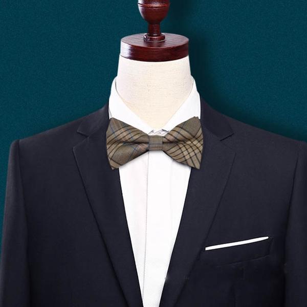 Lafu, checkered north wind bow tie groom wedding bow tie correction (coffee)