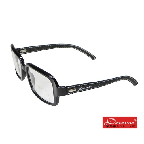 [Docomo] Brand UV transparent lens leather foot thick frame (glossy black boxes)