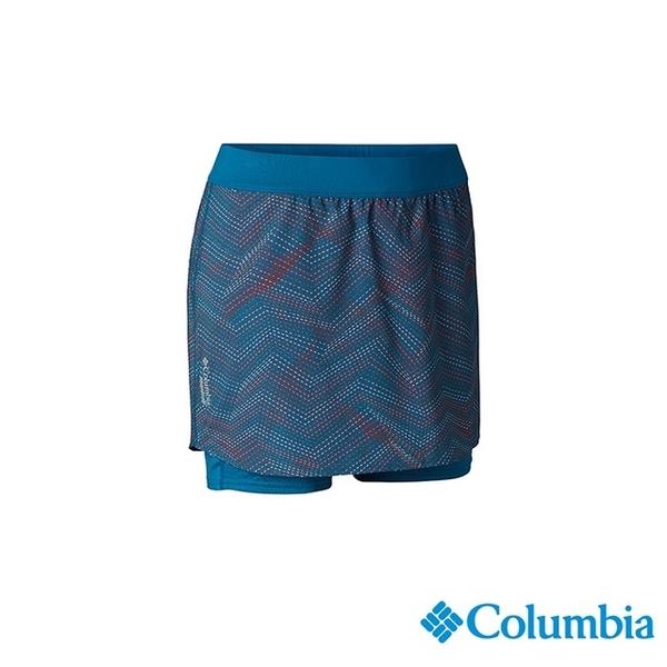 โคลัมเบียโคลัมเบียรุ่นหญิง - ความรู้สึกวิ่ง UPF40 ป่าเย็นกระโปรงแถวอย่างรวดเร็ว - นกยูง UAR26770PC สีฟ้า