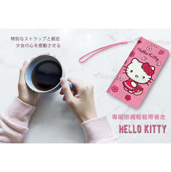 Sanrio authorized Hello Kitty Samsung Galaxy A40s cherry blossom slings painted leather side open case