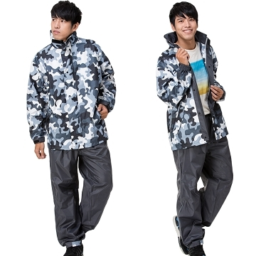 (DongShen)[East] will stretch two-piece jungle camouflage raincoat / black camouflage