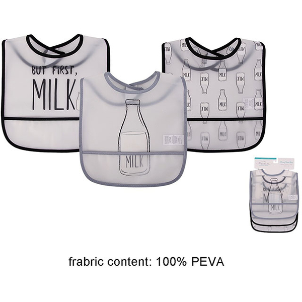 US luvable friends sided waterproof bibs infants into 3 groups _ a cup of milk (LF75560)
