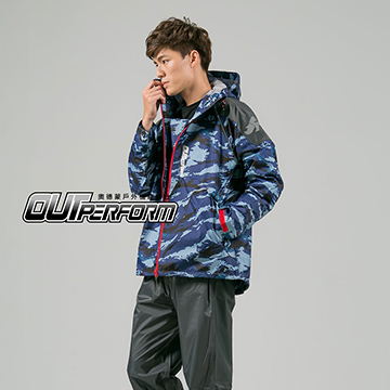 (OutPerform)OutPerform- Matussek super splash in half style trench coat - Blue Camouflage
