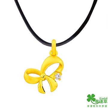(幸運草)Lucky Knot Love Gold Pendant Send Necklace