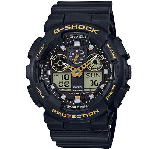 (CASIO)【CASIO】 G-SHOCK dual character mix and match double display table - black X gold (GA-100GBX-1A9)