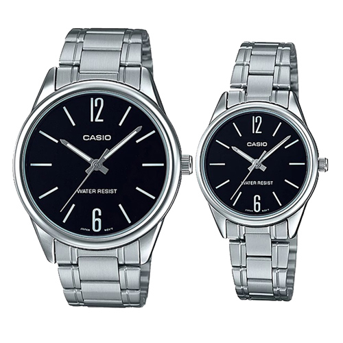 (casio)[CASIO] 12 and 6 simple couple stainless steel pair watch- (MTP-V005D-1B + LTP-V005D-1B)
