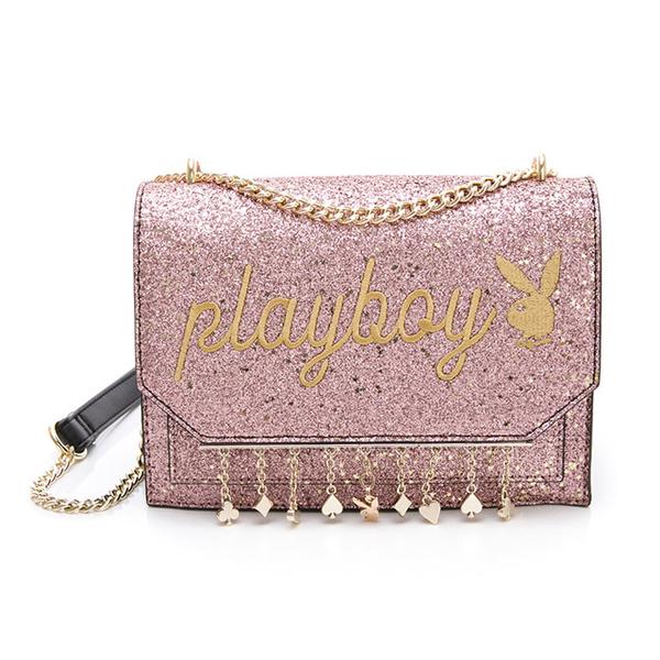 (PLAYBOY)PLAYBOY- Chain Strap Cross Star Poker Series-Pink