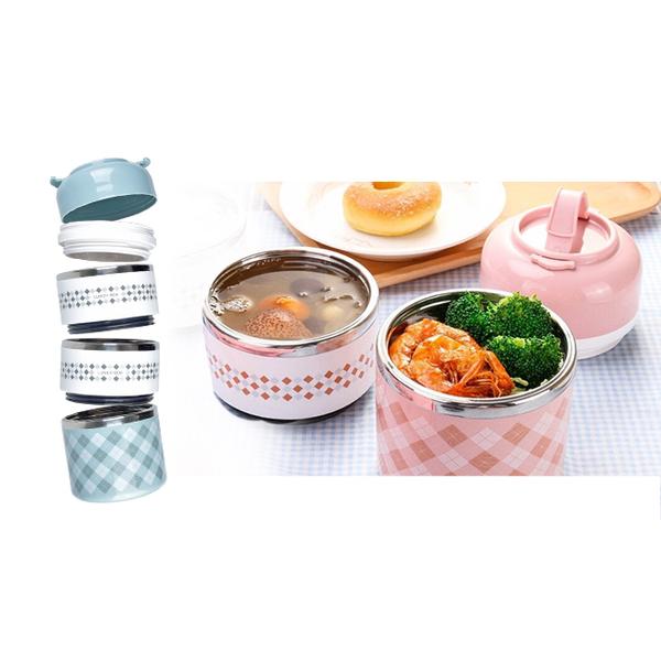 [Homely Zakka] กล่องอาหารกลางวัน สแตนเลส 4 ชั้น ขนาด 1.430 มิลลิลิตร