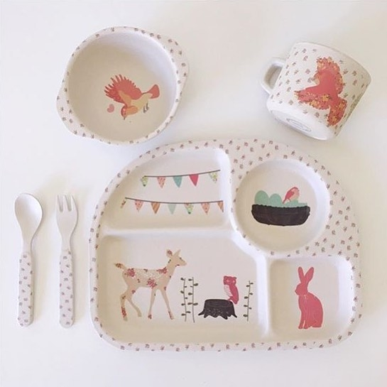 Love Mae woodland afternoon tea (powder) - non-toxic bamboo cutlery children - five group Pink