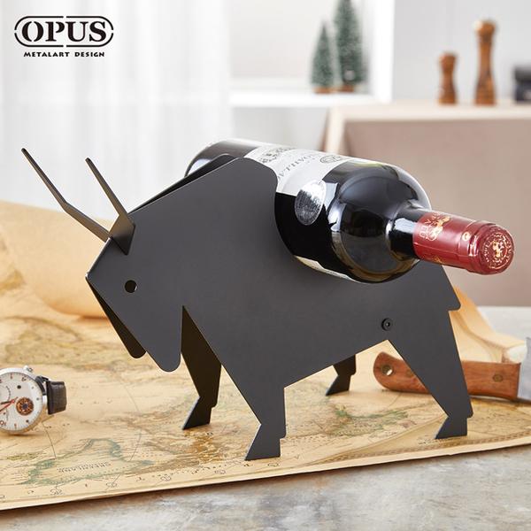 OPUS Dong Qi metalworking Continental Iron - fighting - bison wine rack (black) wine rack wine rack collection Carolina gifts champagne wine bottle wine display stand WR-bi16B