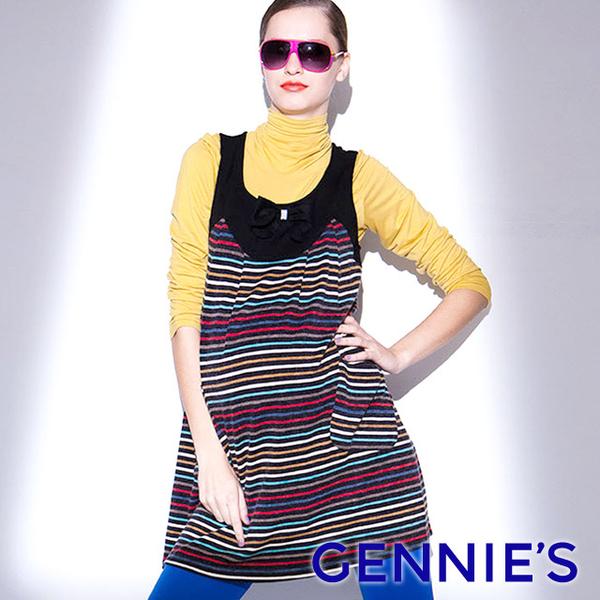 (gennies)Gennies Chini 010 Series - U-neck bow vest dress (T2206)