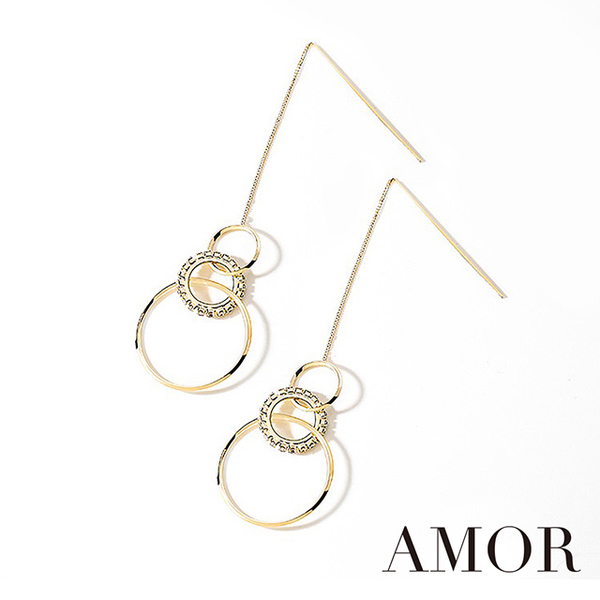 (AMOR)Quenby [AMOR] Champagne Gold Ears Style Simple Long Earrings / Ear Pins