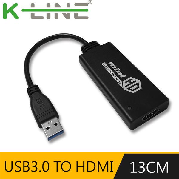 (K-Line)k-Line USB3.0 (male) to HDMI (female) external graphics card (black)