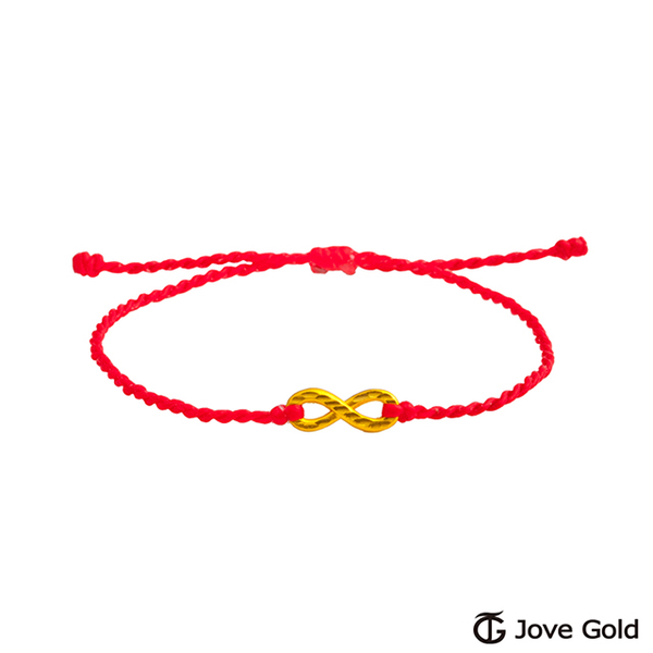 (Jovegold)Jove Gold Gold Jewelry Eternal Memory Gold Rope Bracelet - Red