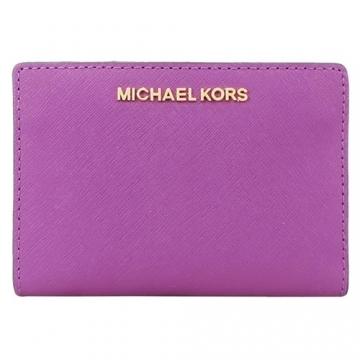 (MICHAEL KORS)MICHAEL KORS JET SET Scratch-resistant Card Coin Short Clip-Purple