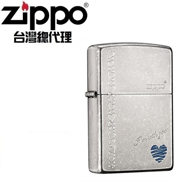 (zippo)ZIPPO With You Born For You-Blue Heart Windproof Lighter