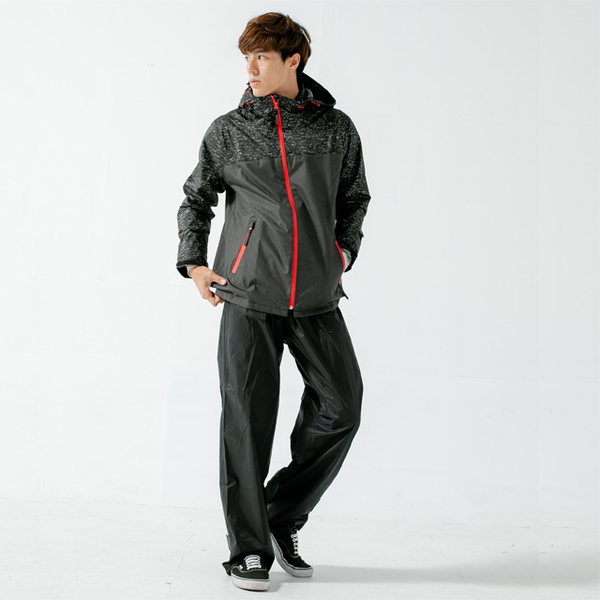 (BrightDay)Maimai does not accumulate water front guide diversion two-piece raincoat - black