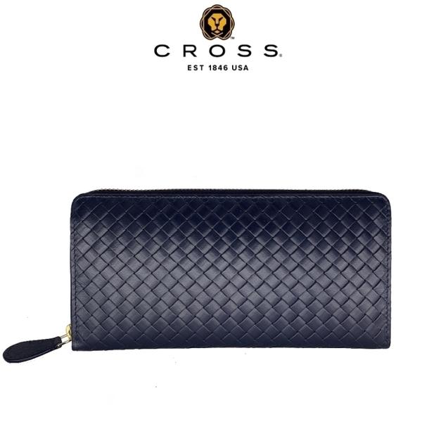 (cross)Limited 15% off top woven pattern NAPPA calfskin zipper long clip Amel series welfare specials (99% new counter display dark blue)