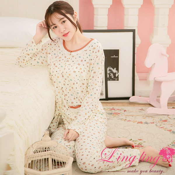 Lingling A3881 full size - full version of bear mushroom shredded milk silk long-sleeved pajamas + trousers (two-piece pajamas group) (Qingya apricot)